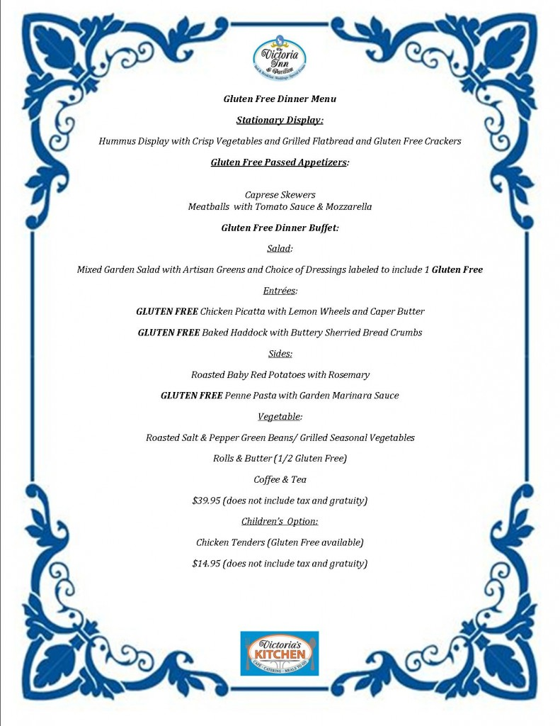 Gluten Free Wedding Menu