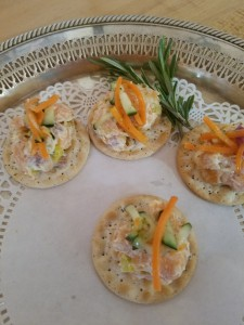 Smoked Salmon Salad on Water Crackers